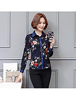 Women's Casual/Daily Sexy Cute Blouse,Solid Floral Print Shirt Collar Long Sleeves Cotton
