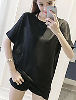 Women's Going out Sexy Blouse,Solid Round Neck Sleeveless Polyester