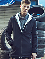 Men's Long Padded Coat,Simple Casual/Daily Solid-Polyester Polyester Long Sleeves