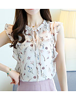 Women's Going out Work Cute Summer Blouse,Floral Round Neck Sleeveless Cotton Polyester Thin