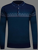 Men's Casual/Daily Simple Regular Pullover,Striped Shirt Collar Long Sleeves Cotton Acrylic Fall Winter Medium Micro-elastic