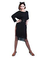 Latin Dance Dresses Women's Performance Chinlon Tassel(s) 1 Piece Half Sleeve Dresses
