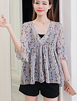 Women's Casual/Daily Simple Blouse,Print V Neck Short Sleeves Others