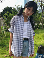 Women's Casual/Daily Simple Shirt,Check Shirt Collar Half Sleeves Cotton