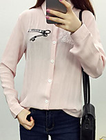 Women's Casual/Daily Simple Shirt,Print Shirt Collar Long Sleeves Linen Others