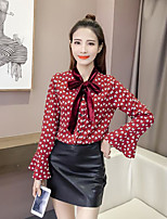 Women's Casual/Daily Simple Blouse,Print V Neck Long Sleeves Polyester