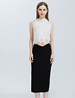 Women's Going out Vintage Summer Blouse Skirt Suits,Solid Round Neck Sleeveless