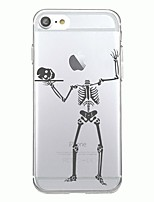 Para capa de capa iphone 7plus capa transparente capa traseira caso halloween esqueleto soft tpu para iphone 7 6splus 6plus 6s 6 5 5s se