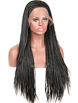 Women Synthetic Wig Lace Front Long Black Braided Wig Natural Hairline Party Wig Halloween Wig Cosplay Wig Natural Wigs Costume Wig