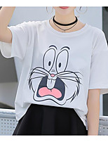 Women's Casual/Daily Simple T-shirt,Solid Print Round Neck Half Sleeves Cotton