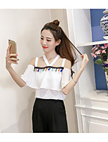 Women's Casual/Daily Sexy Blouse,Solid Print Boat Neck Short Sleeves Polyester