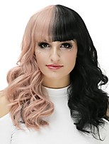 Women Synthetic Wig Capless Long Curly Black/Gold Natural Wig Halloween Wig Party Wig Carnival Wig Costume Wigs