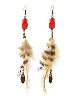 Lureme Bohemia Ethnic Jewelry Long Natural Pheasant Feather with Turquoise Earrings