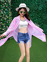 Camicia Da donna Per uscire Semplice Estate,A strisce Colletto Cotone Manica lunga Medio spessore