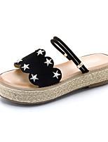 Da donna Pantofole e infradito Suole leggere Estate PU (Poliuretano) Casual Formale Piatto Nero Tessuto almond Piatto