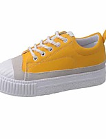 Women's Sneakers Formal Shoes Fall PU Casual Lace-up Flat Heel Yellow Black White 1in-1 3/4in