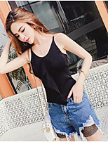 Women's Casual/Daily Simple Tank Top,Solid Strap Sleeveless Cotton