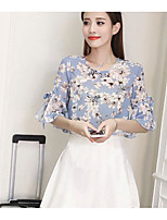 Women's Casual/Daily Simple Blouse,Print Round Neck Half Sleeves Polyester