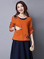 Women's Casual/Daily Chinoiserie T-shirt,Print Round Neck Long Sleeves Cotton Linen