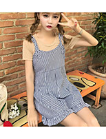 Women's Going out Casual/Daily Simple T-shirt,Striped Strap Sleeveless Cotton