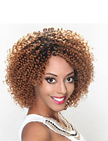 8inch Ombre burgundy Kinky Curly Hair Weave 100g/pack sythetic jerry curly hair bundles human hair felling 3-5pack/head short curly weft bob Hairstyle