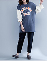 Women's Going out Cute T-shirt,Color Block Round Neck 3/4 Length Sleeves Cotton