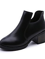 Women's Boots Combat Boots PU Fall Casual Dress Zipper Low Heel Wine Brown Black 1in-1 3/4in