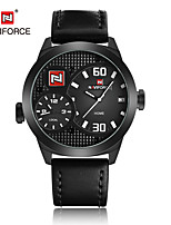 NAVIFORCE Men's Dress Watch Fashion Watch Japanese Quartz Calendar Water Resistant / Water Proof Dual Time Zones Genuine Leather Band