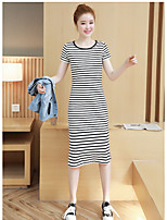 Women's Daily Soak Off Summer T-shirt Dress Suits,Striped Round Neck Short Sleeve