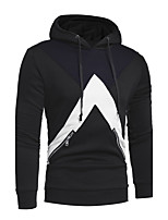 Men's Plus Size Plus Size Going out Casual/Daily Simple Hoodie Color Block Cut Out Hooded Micro-elastic Cotton Long Sleeve Fall Winter