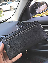 Men Checkbook Wallet PU All Seasons Event/Party Office/Career Daily Casual Office & Career Rectangle Zipper Black
