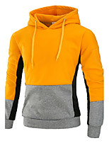 Men's Casual/Daily Simple Hoodie Color Block Hooded Micro-elastic Acrylic Long Sleeve Fall Winter