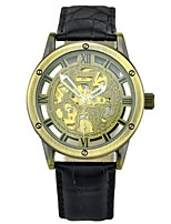 Men's Mechanical Watch Automatic self-winding Genuine Leather Band Vintage Black