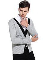 Normal Cardigan Homme Sortie Décontracté / Quotidien simple,Couleur Pleine Col en V Manches Longues Coton Printemps Automne Moyen