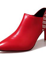 Для женщин Ботинки Армейские ботинки Осень Полиуретан Повседневные Молнии На шпильке Черный Бежевый Красный 4,5 - 7 см