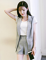 Women's Daily Soak Off Summer Blazer Skirt Suits,Solid Round Neck Short Sleeve