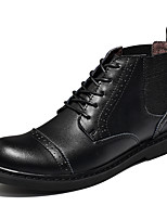Men's Boots Comfort Cowhide Fall Winter Casual Lace-up Flat Heel Brown Black Flat