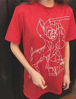 T-shirt Da donna Sensuale Tinta unita Rotonda Cotone Manica corta