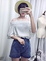 Women's Going out Casual/Daily Cute Summer Blouse,Solid Off Shoulder Half Sleeves Polyester Medium