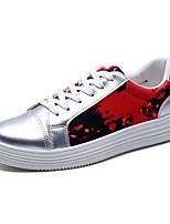 Для мужчин Кеды Удобная обувь Полиуретан Весна Осень Повседневные Шнуровка На плоской подошве Черный Красный Синий На плоской подошве
