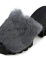 Для женщин Тапочки и Шлепанцы Удобная обувь Осень Кожа / мех Для праздника На толстом каблуке Черный Серый Вино 7 - 9,5 см