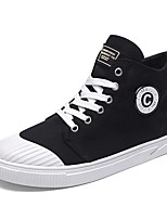 Men's Sneaker Comfort Light Sole Fall Winter PU Canvas Spandex Fabric Casual Outdoor Lace-up Flat Heel Gray Black White Flat
