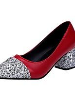 Damen High Heels Leuchtende Sohlen Sommer PU Normal Kleid Paillette Block Ferse Weiß Schwarz Rot 5 - 7 cm