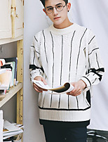 Men's Going out Casual/Daily Short Pullover,Solid Round Neck Long Sleeves Polyester Spandex Others Spring Fall Medium Micro-elastic