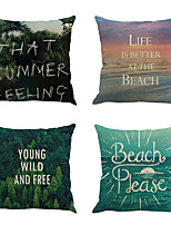 Set Of 4 Creative Forest And The Sea Pillow Cover Tropical Style Pillow Case