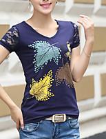 Damen Druck Einfach Lässig/Alltäglich T-shirt,V-Ausschnitt Kurzarm Baumwolle Andere