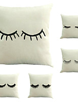 Set Of 5 Novelty Eyelash Printing Pillow Cover Creative Square Cotton/Linen Pillow Case