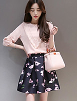 Women's Casual/Daily Simple Summer T-shirt Skirt Suits,Floral Round Neck ¾ Sleeve