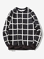 Men's Casual/Daily Plus Size Simple Sweatshirt Solid Round Neck Micro-elastic Cotton Spandex Long Sleeve Fall Winter