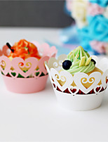 50pcs/lot Love Heart Design Laser Cut Cupcake Wrappers Wedding Party Baby Shower Decoration Supplies.